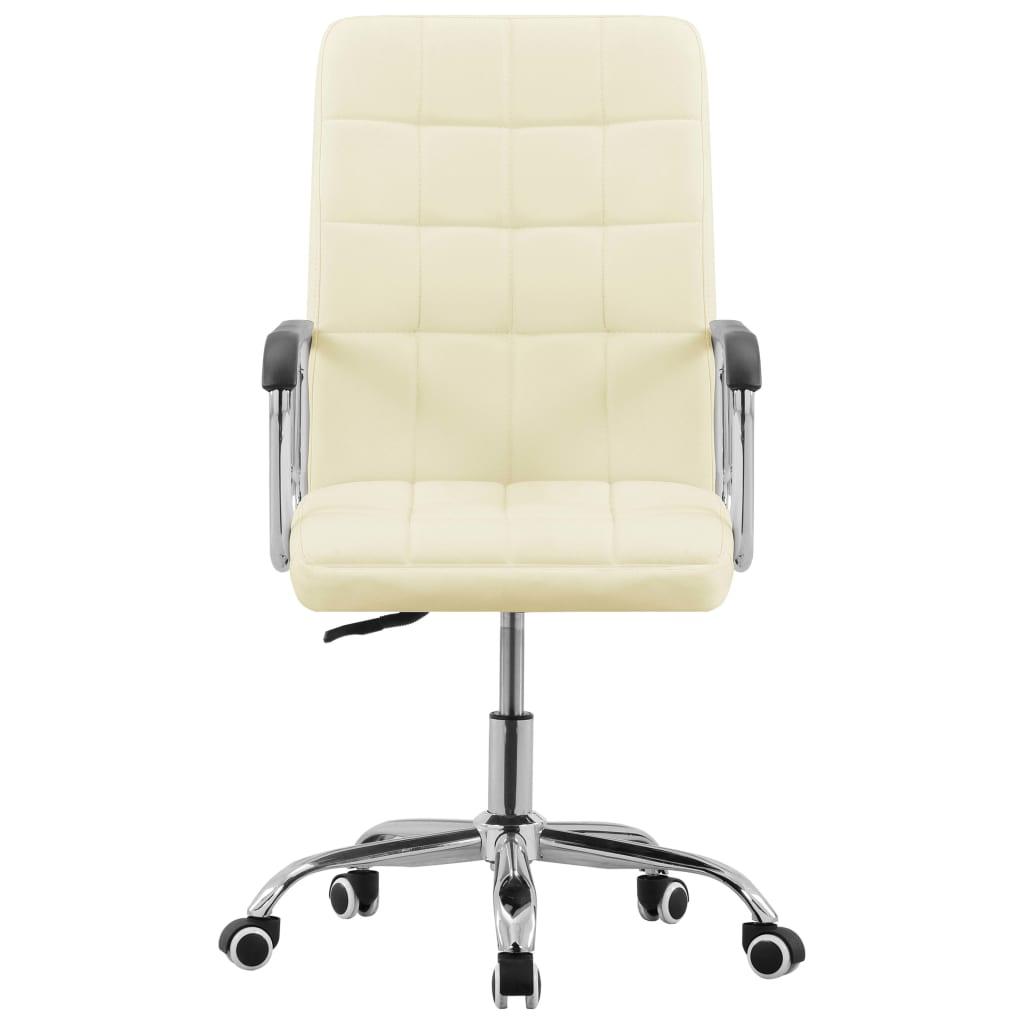 vidaXL Kantoorstoel draaibaar stof crèmekleurig