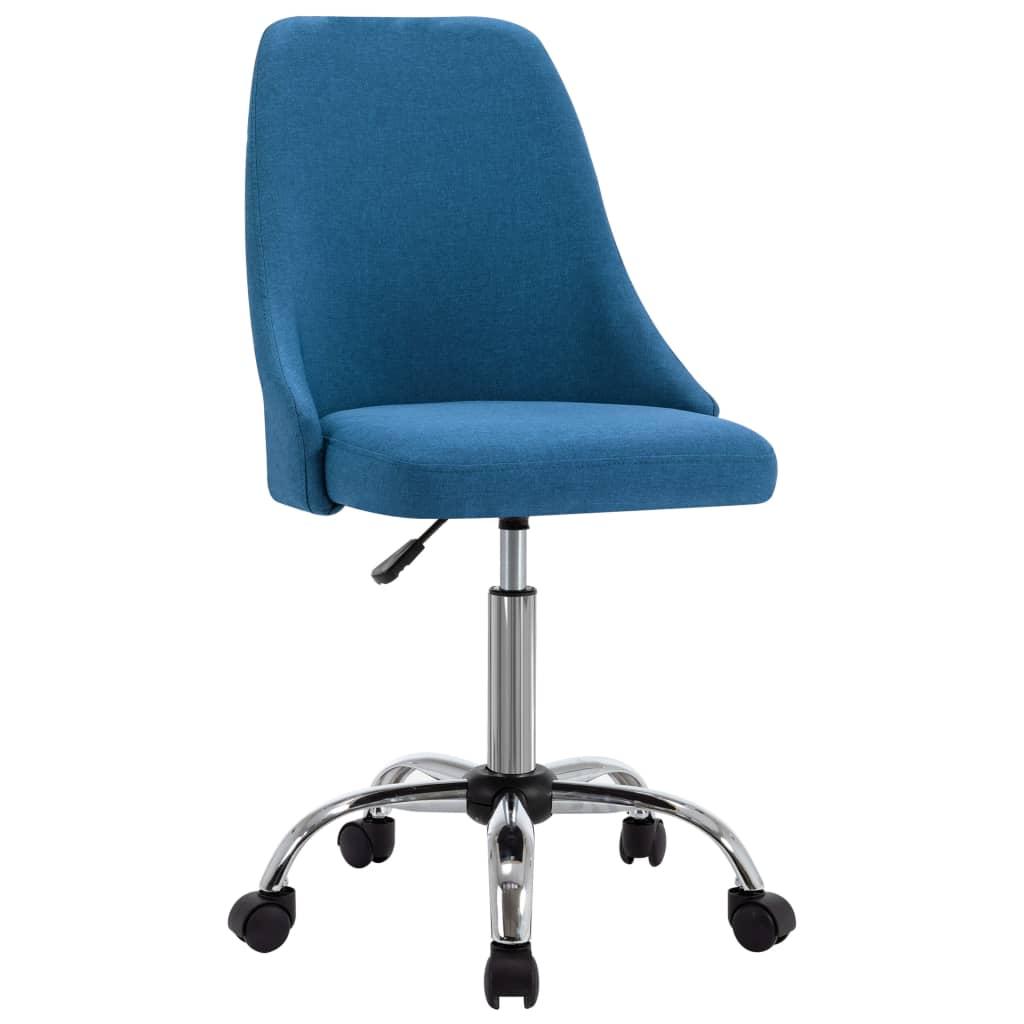 vidaXL Kantoorstoelen met wieltjes 2 st stof blauw