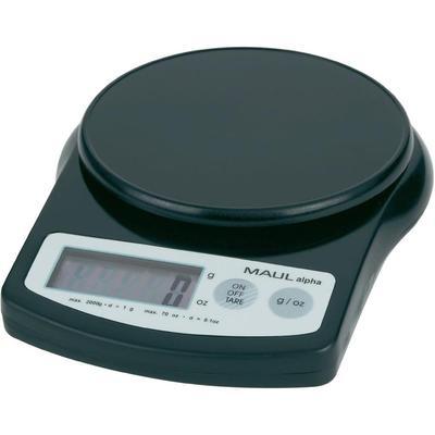 Maul MAULalpha 2000G tafelweegschaal, Weegbereik (max.) bis 2 kg, Zwart