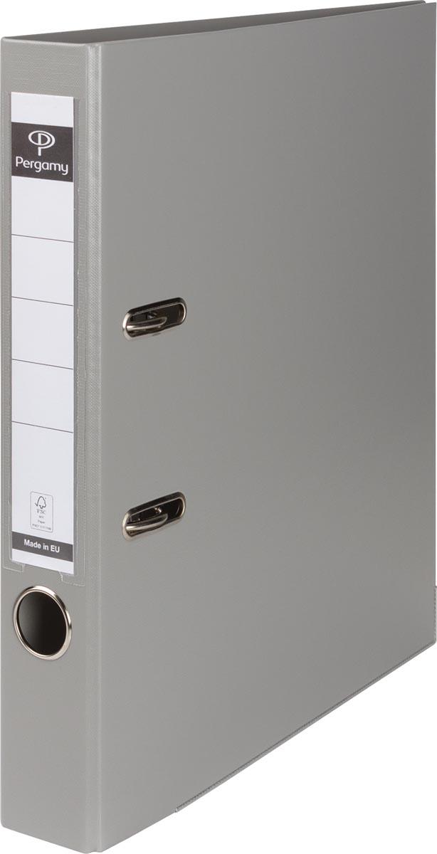 Pergamy ordner, voor ft A4, uit PP en papier, rug van 5 cm, grijs