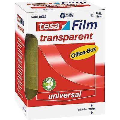 TESA 57406-00002-00 tesafilm transparant (l x b) 66 m x 19 mm Transparant Polypropyleen (PP) Inhoud: 8 rollen
