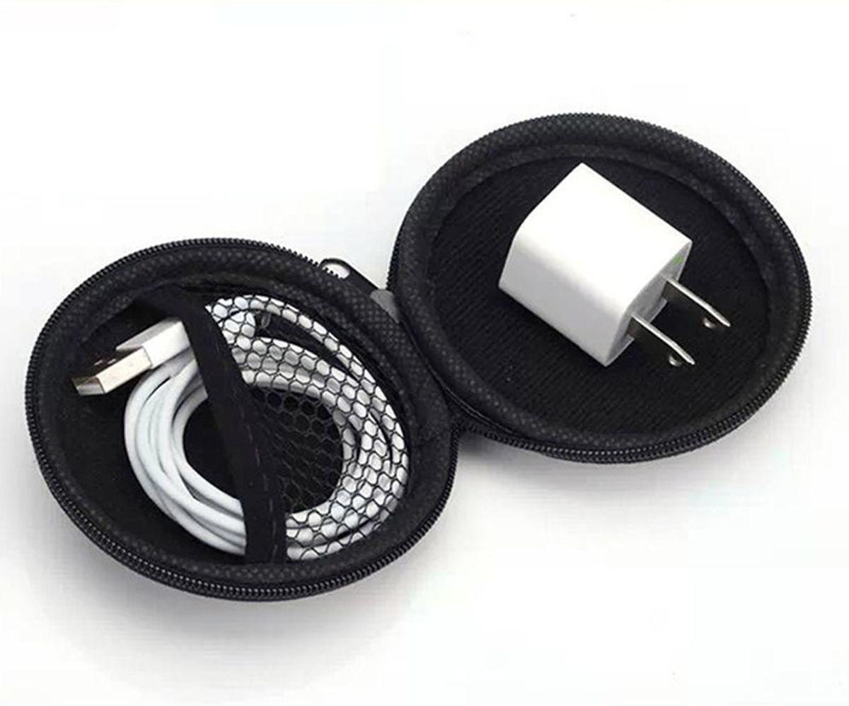 Draagbare case voor oortelefoon en laadkabels - opberg - etui - earpod storage - in-ear - cover - cable - spatwaterdicht - grijs - Geschikt voor Apple earpods - GRATIS VERZENDING