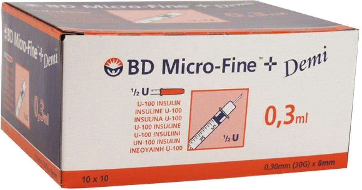 Insulinespuit BD Microfine 0,3ml U100 + naald 0,30mm (30G) x 8mm