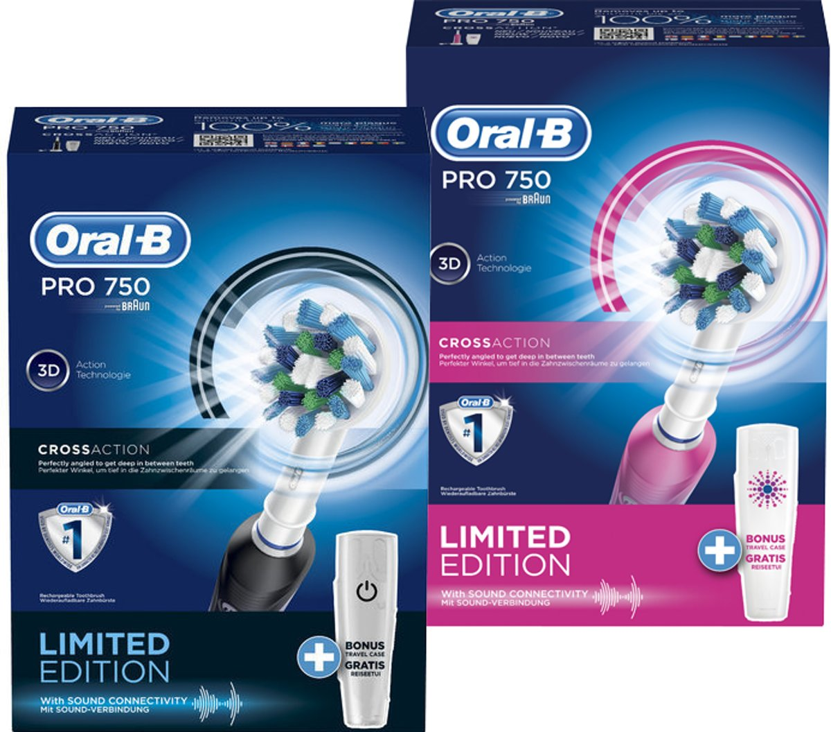 Oral-B PRO 750 DUOPACK Black and Beauty elektrische tandenborstels