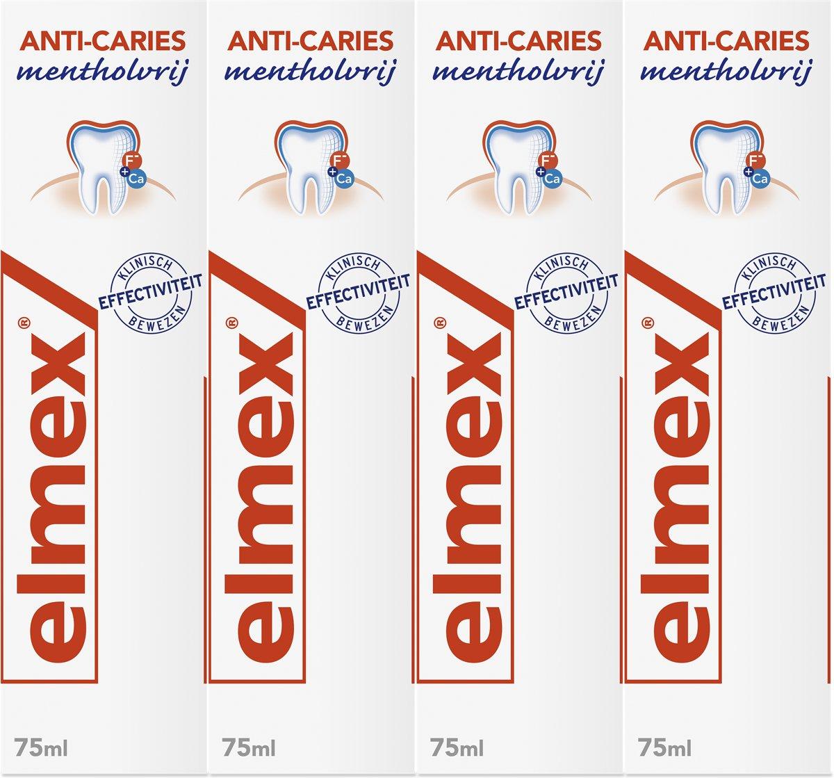 Elmex Anti Cari?s Mentholvrij Tandpasta 4x 75 ml