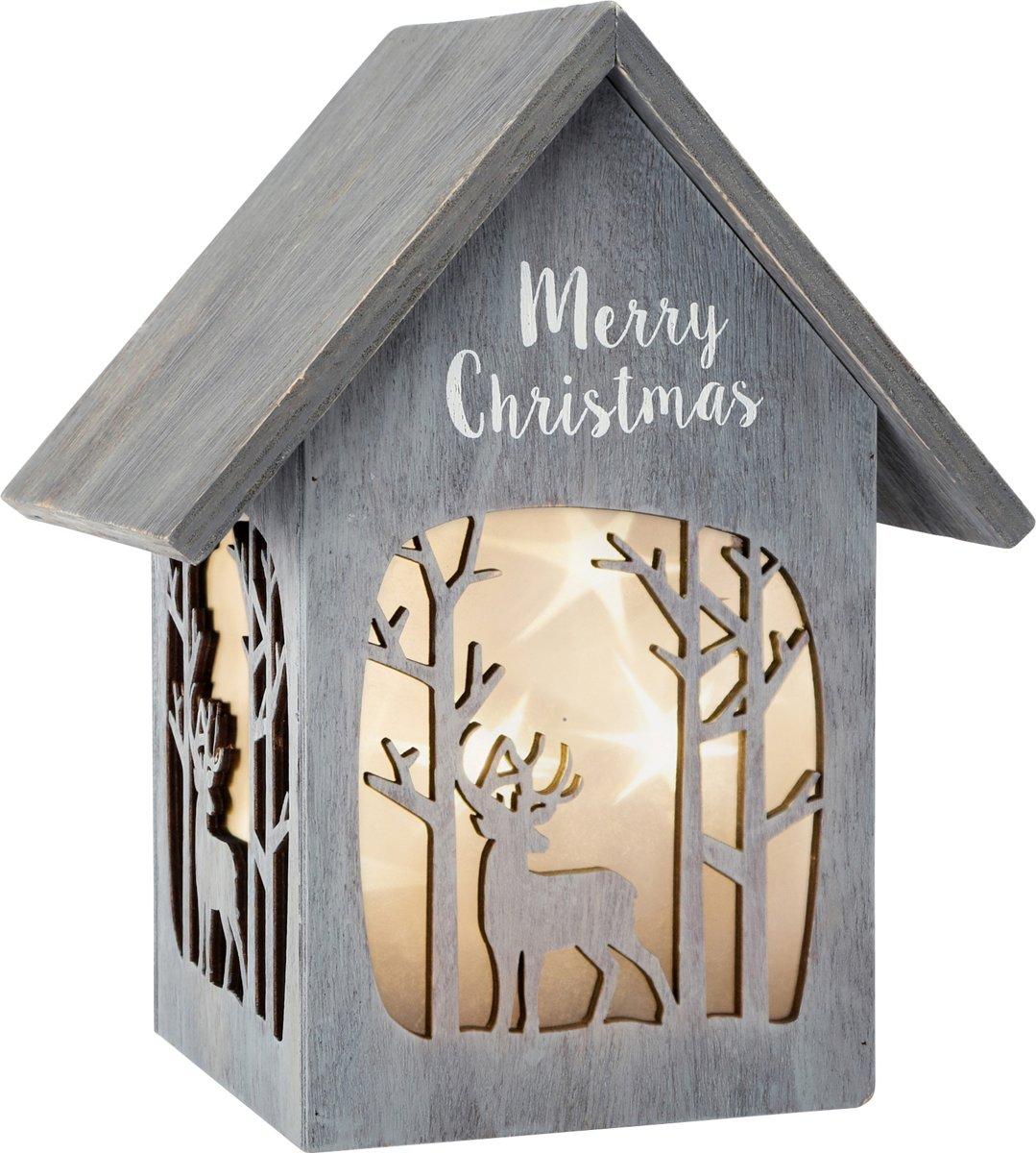 Small Foot Verlicht kersthuisje 21 x 16 x 25 cm hout grijs
