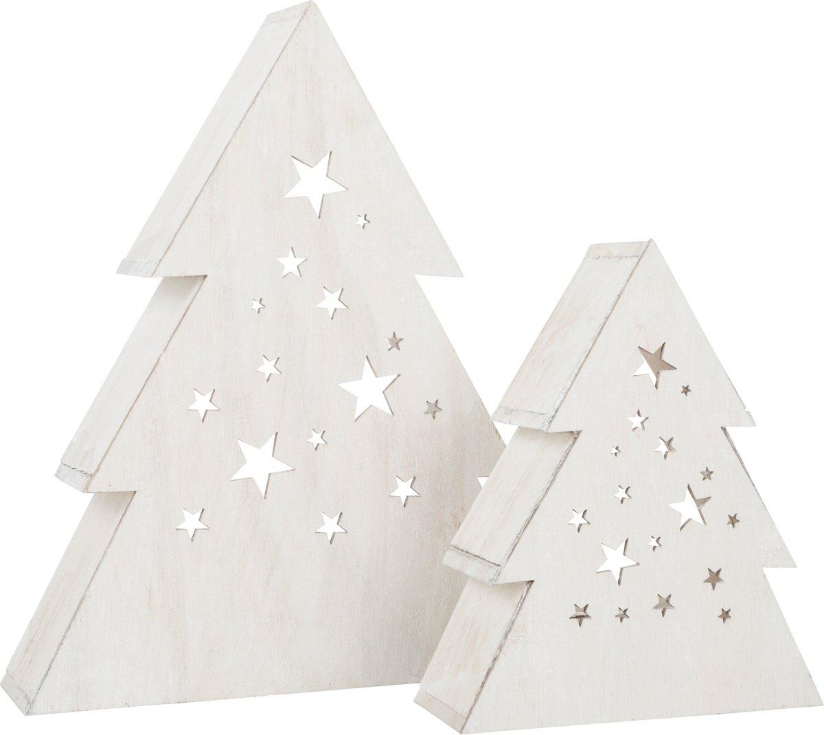 Small Foot houten decoratielamp kerstboom 2 stuks wit