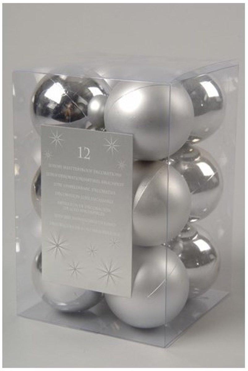 Kesrtballen kunststof 6cm kerst zilver Kerstartikelen