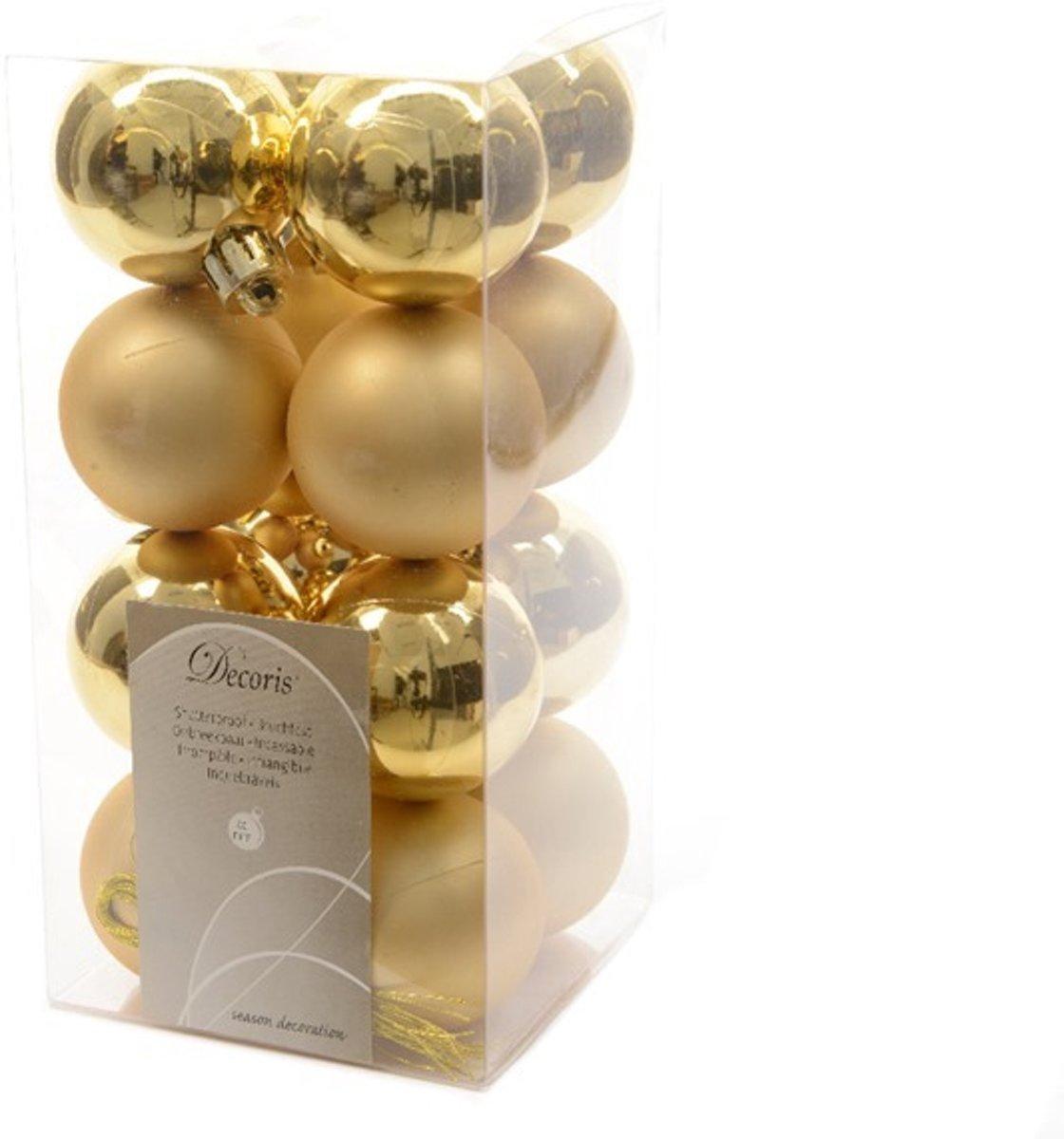 Kerstballen kunststof goud 4cm 16st Kerstartikelen