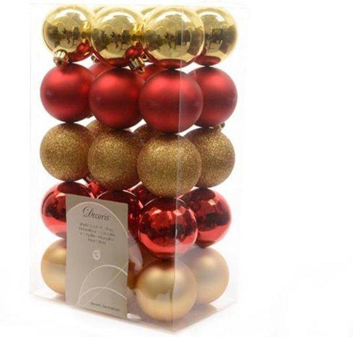 Kerstballen kunststof goud/rood 6cm 30st Kerstartikelen