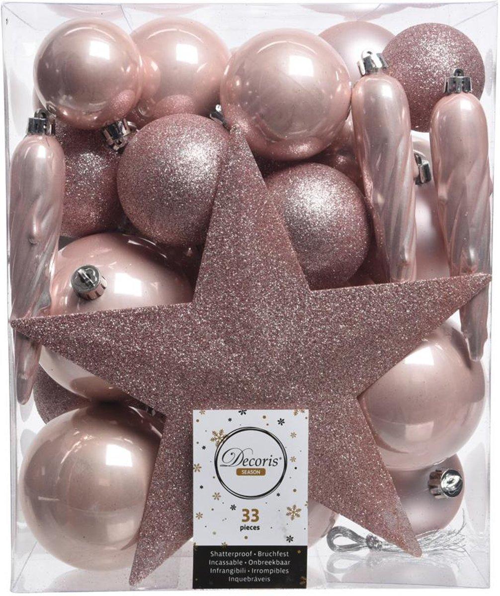 Kerstballen Mix Met Piek Box 33 Stuks Poederroze