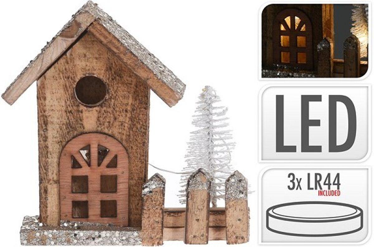 Kerst Huis met Led 16cm Bruin Kerstartikelen