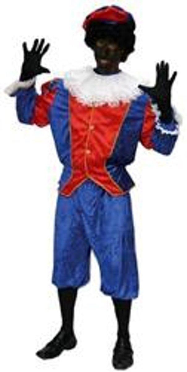 Kostuum Zwarte Piet Blauw/Rood maat 52