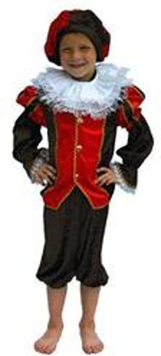Zwarte Piet Kostuum Rood/Zwart mt 104