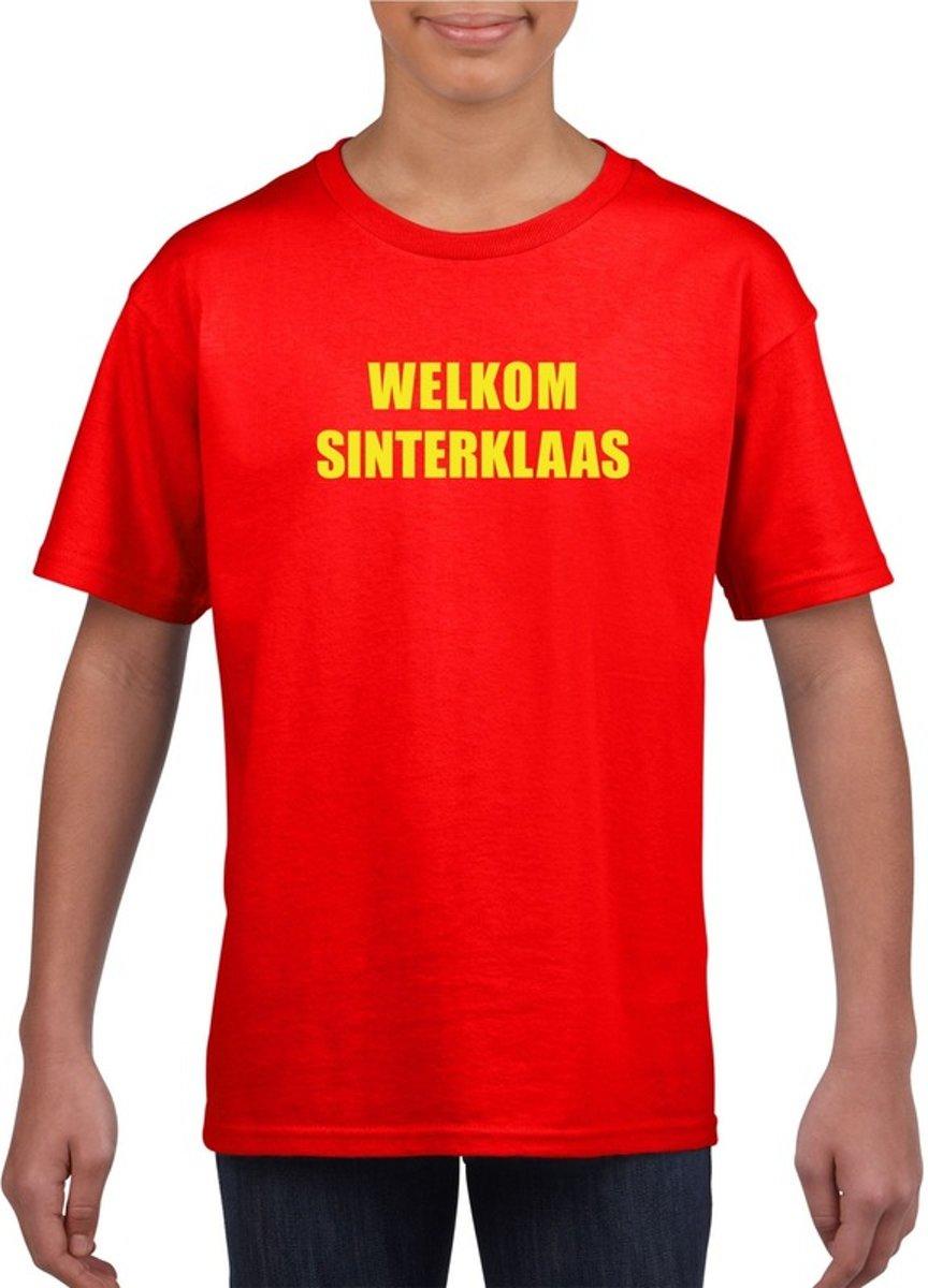 Welkom Sinterklaas rood T-shirt voor kinderen L (146-152)