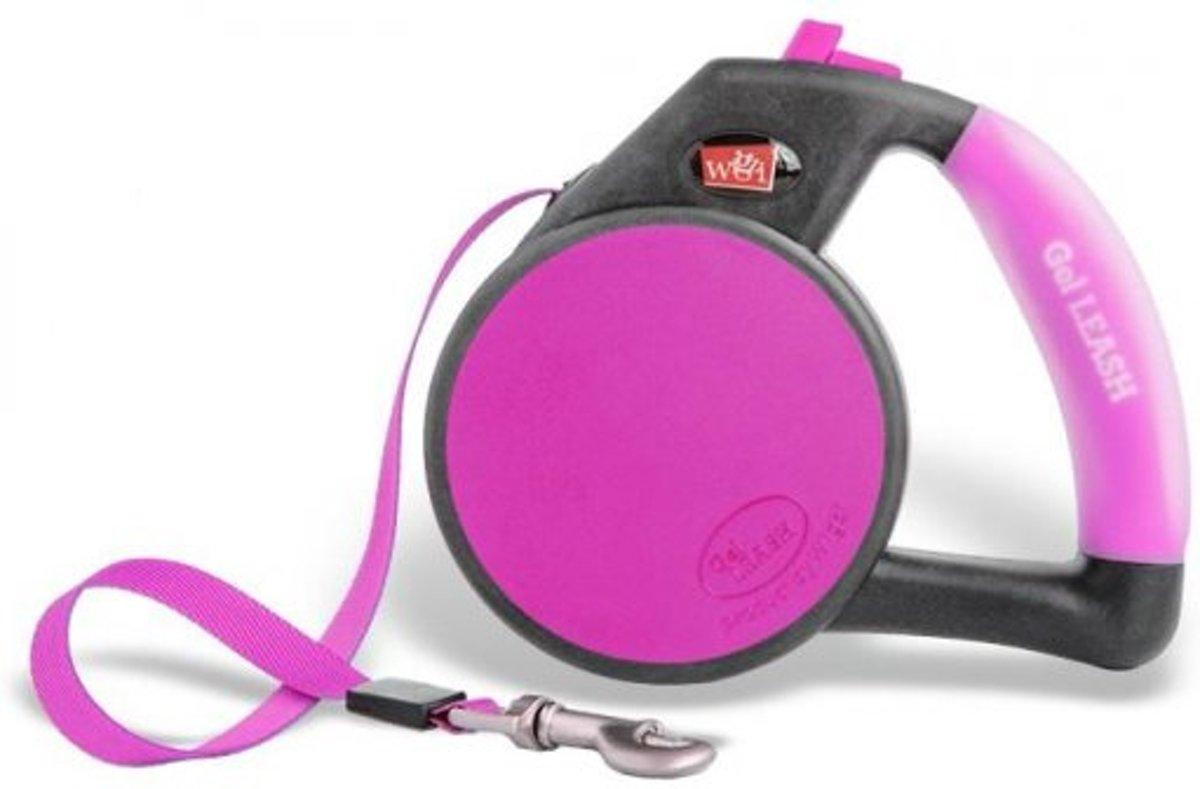 Wigzi Retractable hondenriem met gelhandvat - Small tot 12 kg (4m)- Roze