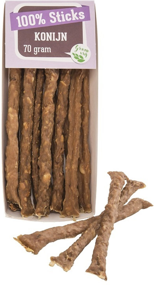 100%- konijnen- sticks - hondensnack - 10 x 70 gram