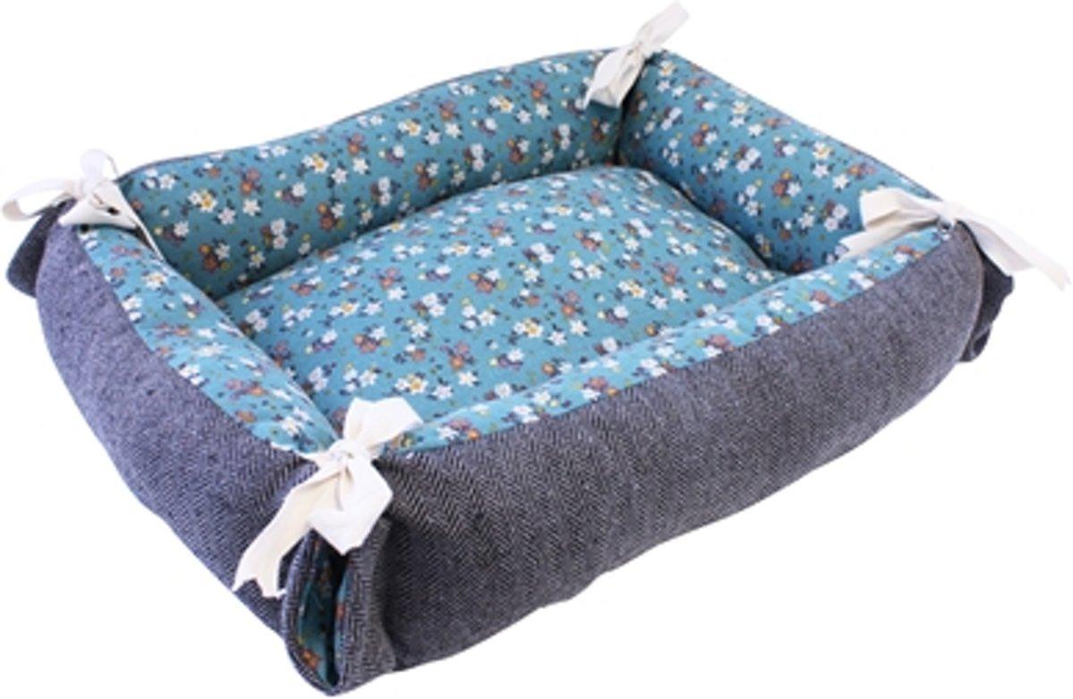 Tabby Chic Kattenmand Floral Blauw / Grijs - 55x45x16 CM
