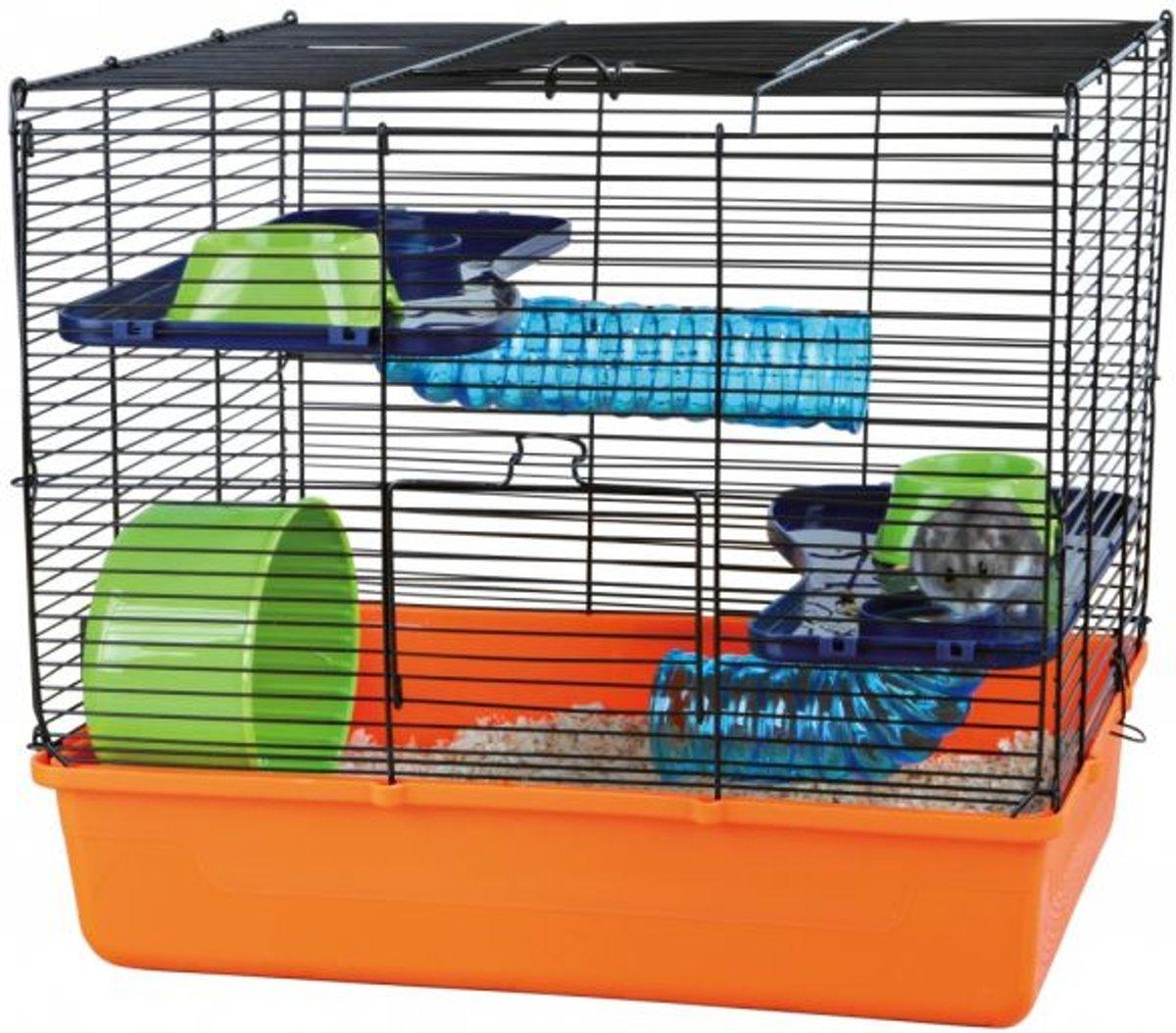 Trixie hamsterkooi met basis onderdelen oranje / blauw / groen