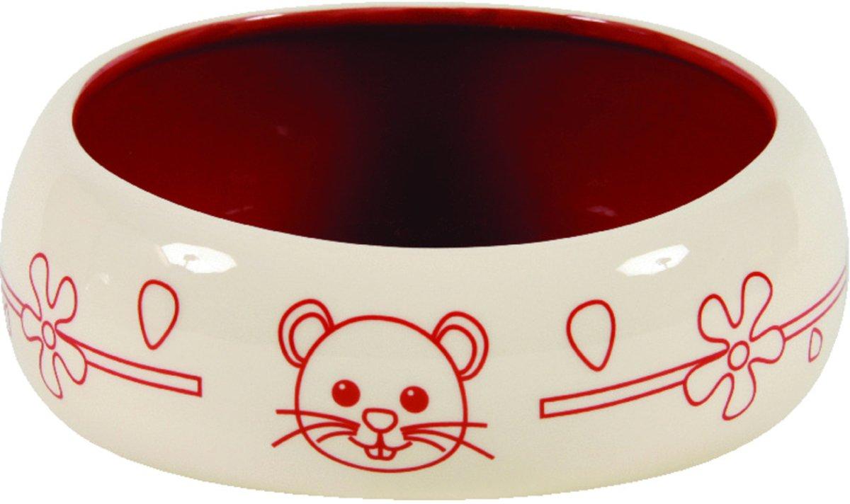Zolux voerbak knaagdier antimors keramiek rood / creme