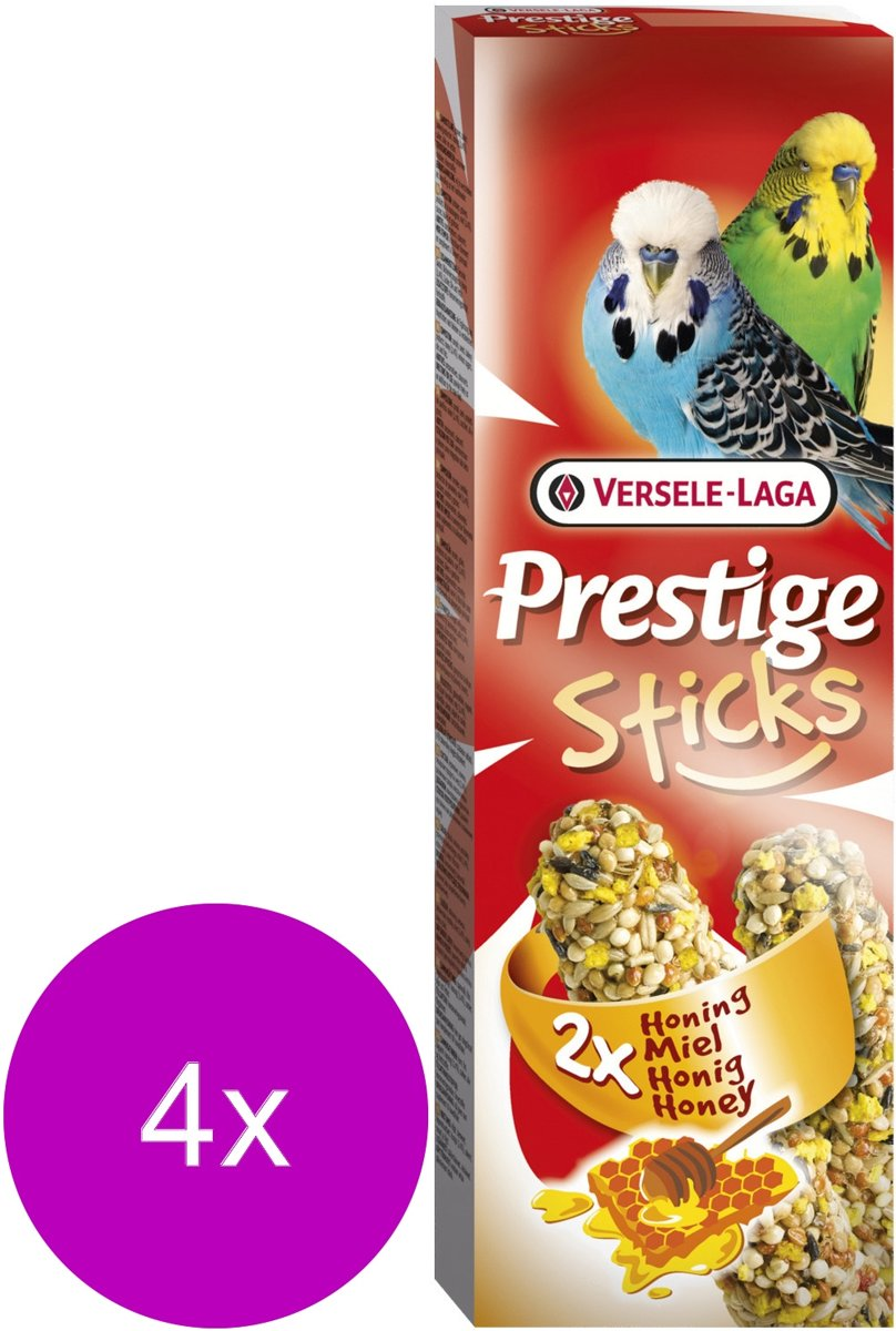 Versele-Laga Prestige Sticks Grasparkiet - Vogelsnack - 4 x Honing