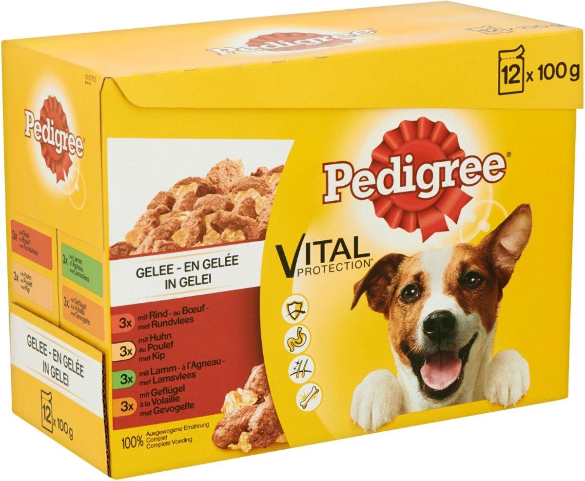 Pedigree Adult Favourites Multipack - Rundvlees en Gevogelte in gelei - 4 x (12 x 100 ) gr