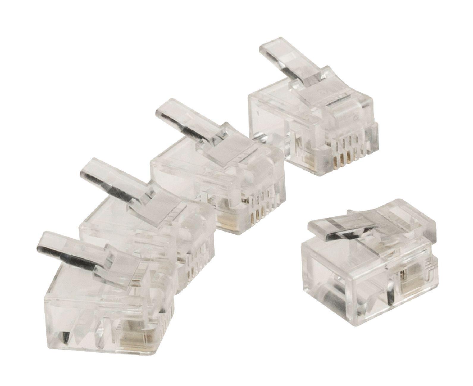 RJ11 connector RJ11 mannelijk transparant 10 stuks