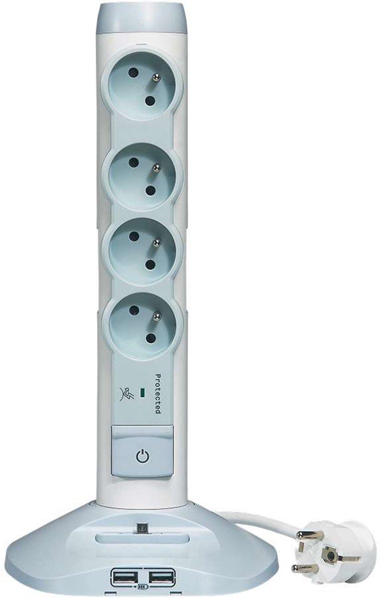 Legrand stekkerdoos kolom - 4-voudig - 2 USB - micro USB - RANDAARDE - 200cm snoer - wit/grijs