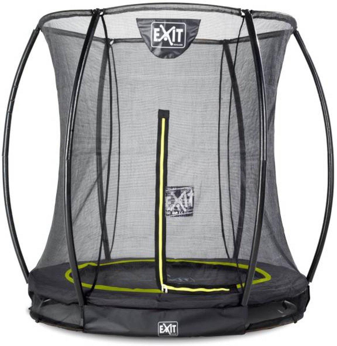 EXIT Silhouette verlaagde trampoline met veiligheidsnet rond - 183 cm - zwart