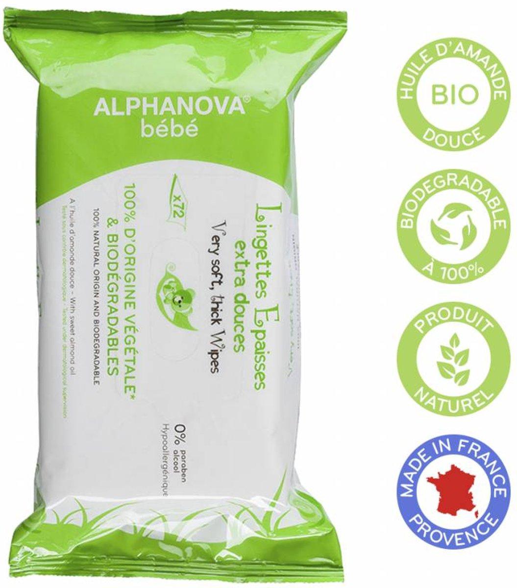 Alphanova Baby Bio Reiniging Doekjes (72st)