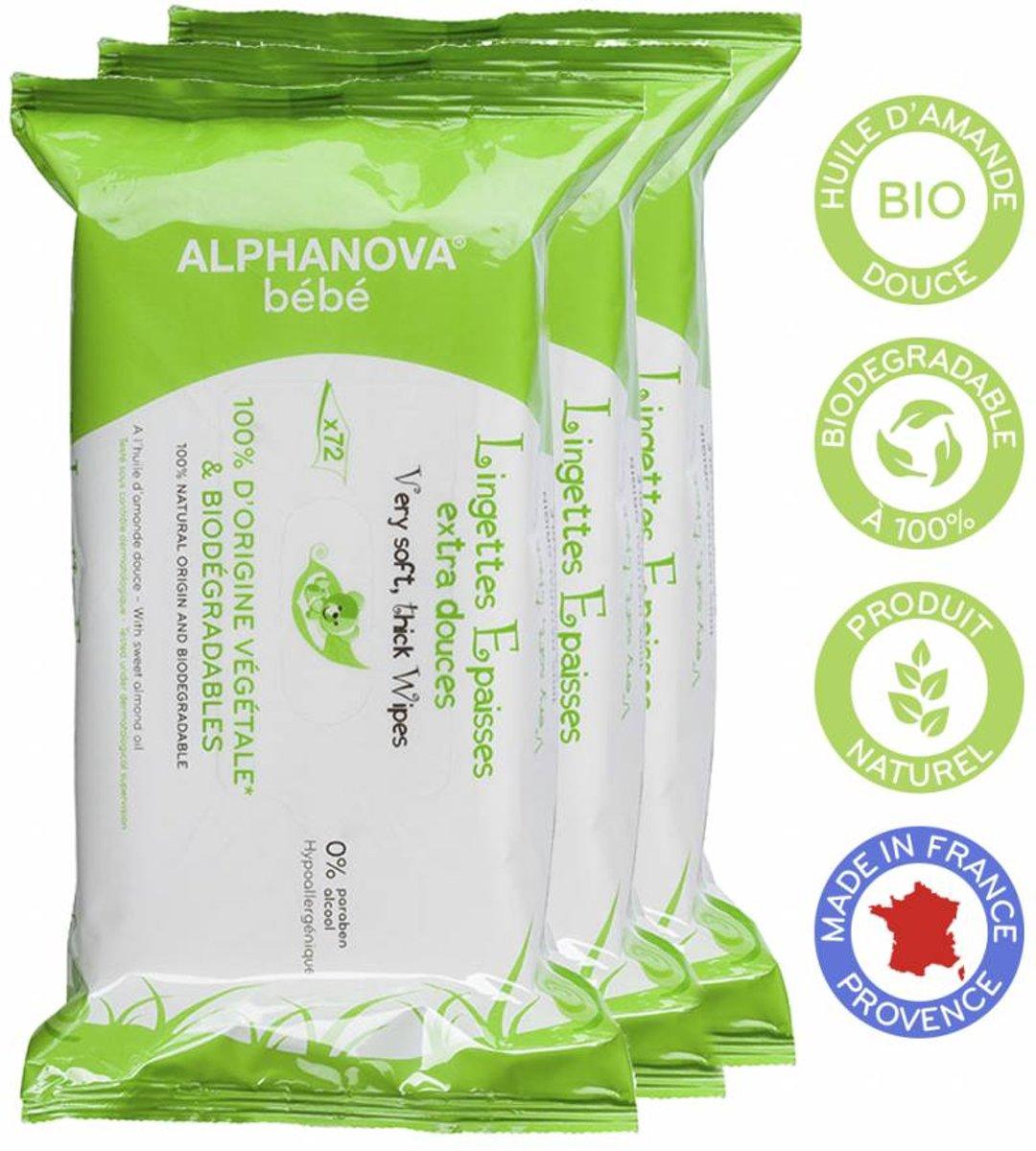 Alphanova Baby Bio Reinigingsdoekjes (3x72st)