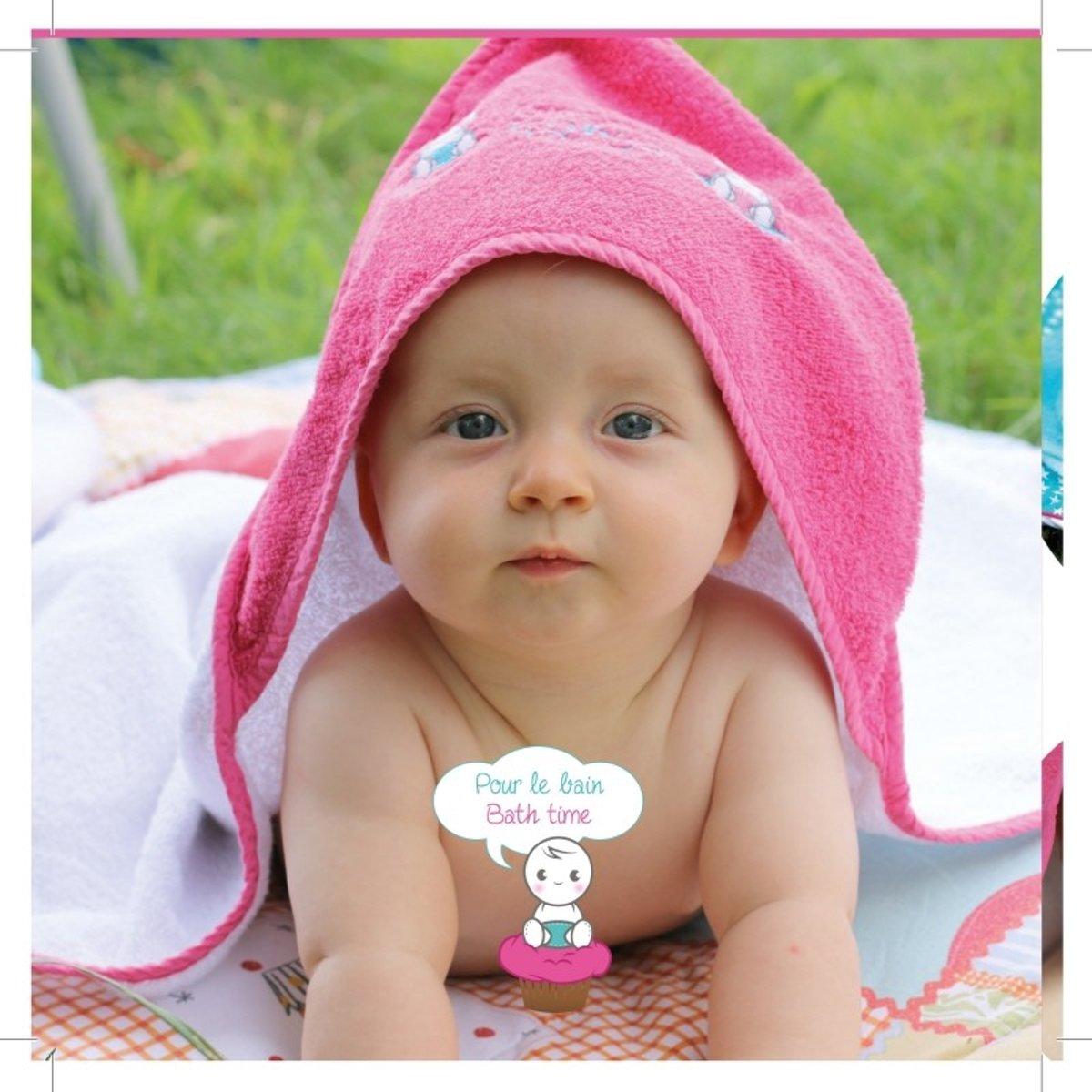 Cupcake Babies Babybadje, Roze Badje/ Roze Badcape En Blauw Badeendje