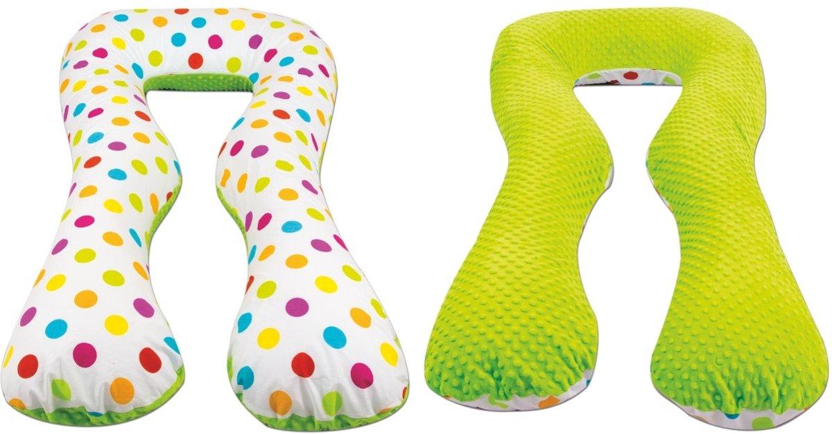 Voedingskussen / Zwangerschapskussens | U-vorm 300 cm | Groen en gekleurde bolletjes