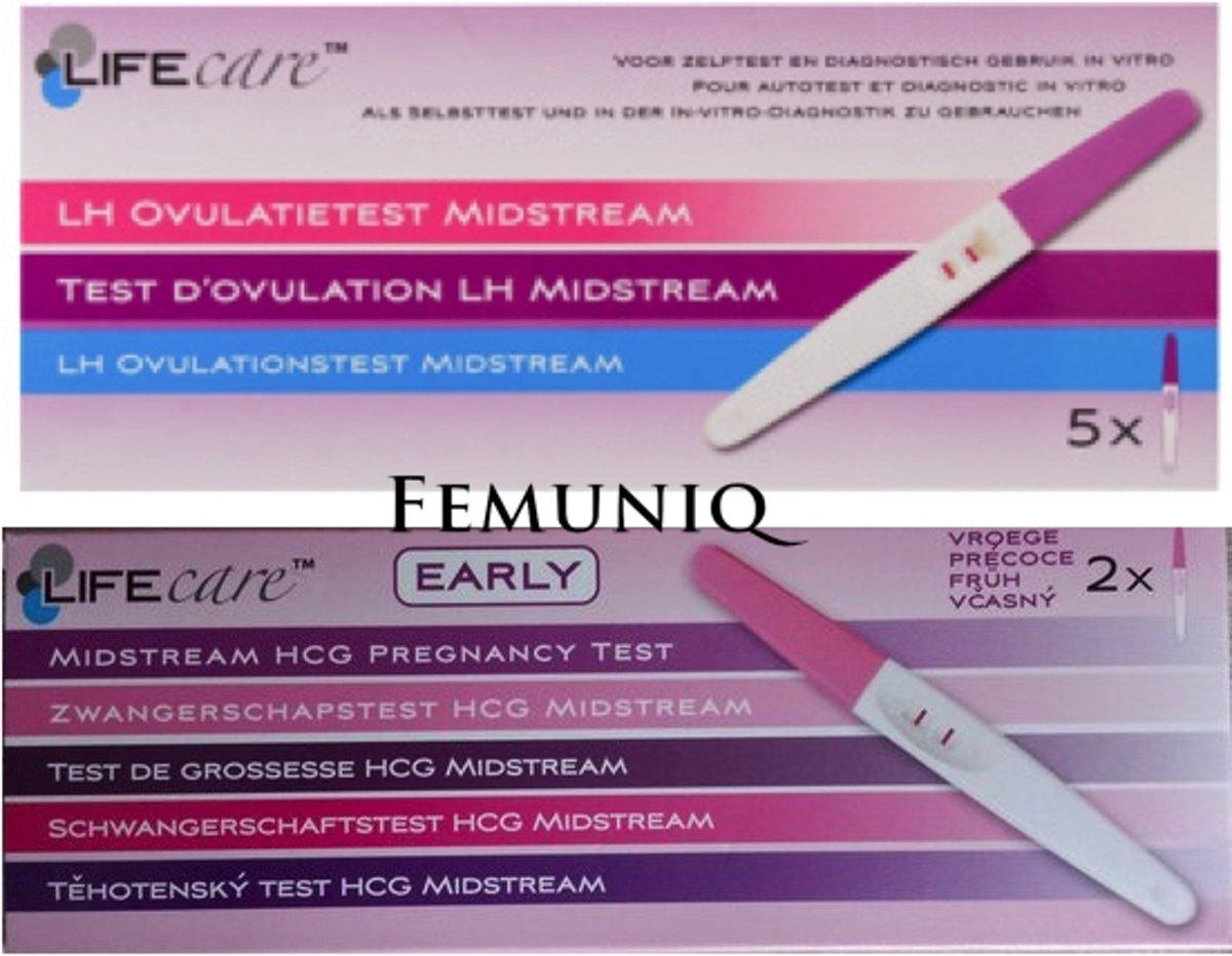 Vroege Zwangerschapstest [2 stuks] + Ovulatietesten [5 stuks] - Lifecare - Femuniq