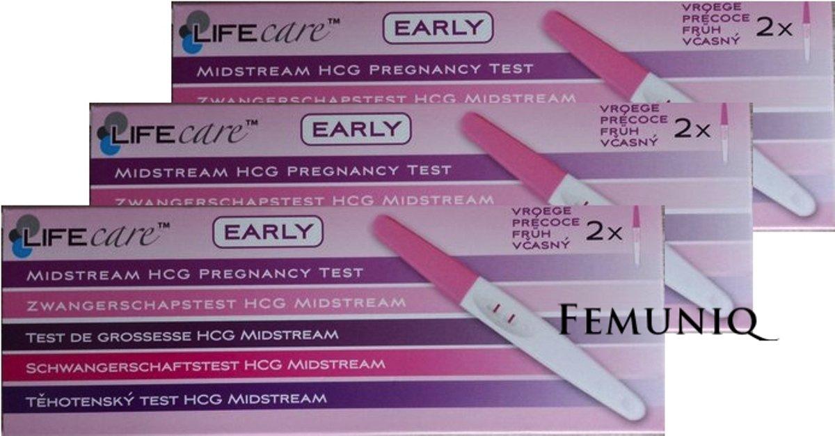 3 x Lifecare Early - Vroege Zwangerschapstest - 6 stuks - Femuniq
