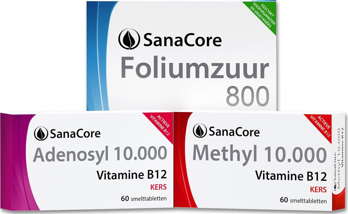 Actief Vitamine B12 Power Pakket (2 maanden) Methylcobalamine Adenosylcobalamine Foliumzuur