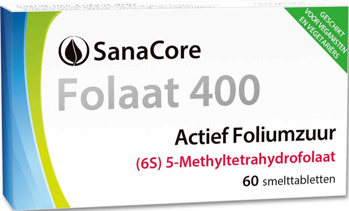 SanaCore Folaat 400 6S - Actieve Foliumzuur (5-MTHF) - 60 tabletten