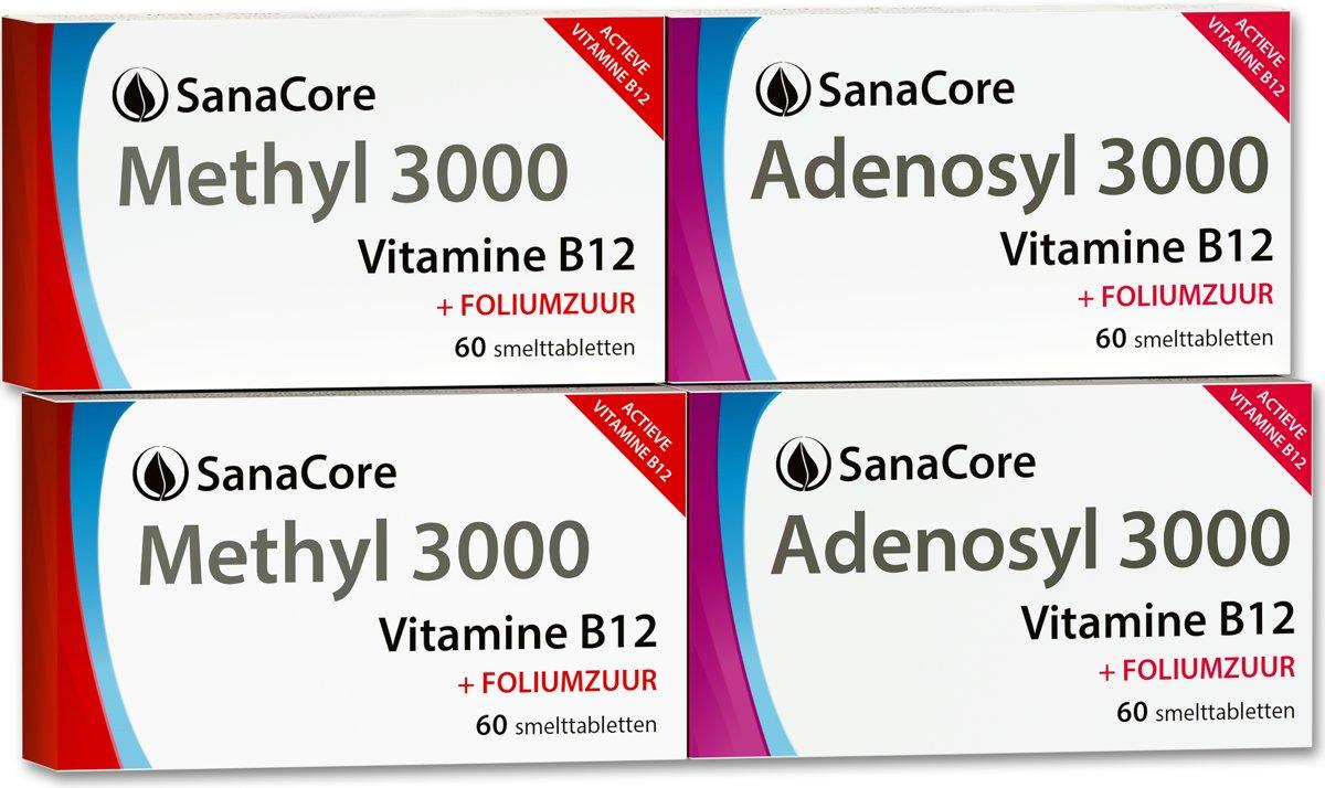 Actief Vitamine B12 Standaard Pakket (4 maanden) Methylcobalamine Adenosylcobalamine Foliumzuur