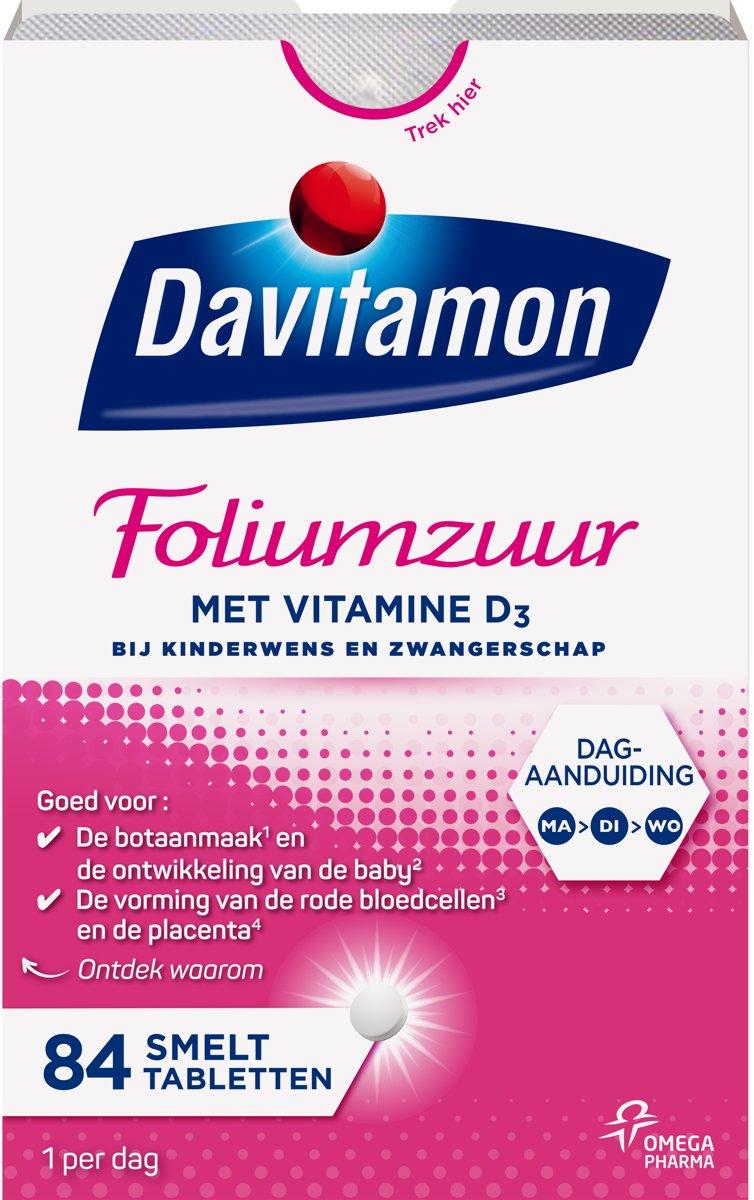 Davitamon Foliumzuur Tabletten Met Vitamine D 84stuks