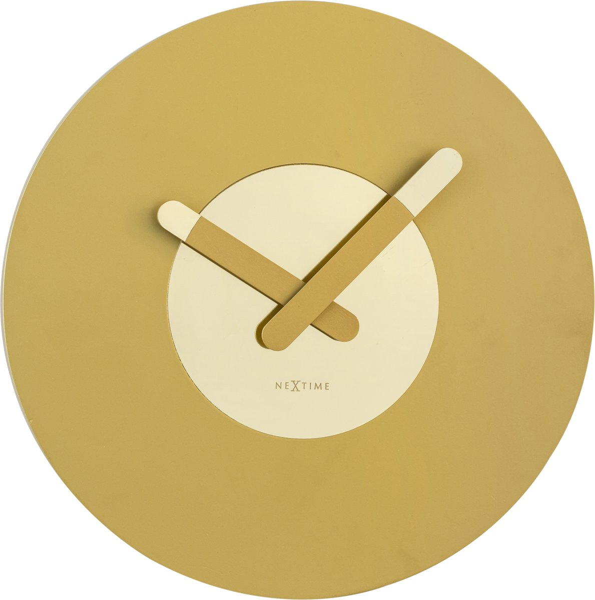 Wandklok NeXtime dia. 39.5 cm, hout, goud, 'In touch'