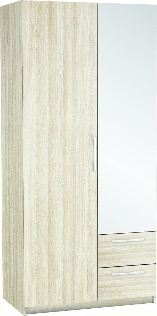 Kesta - New-York Kledingkast met spiegel deur lichthout - Bruin