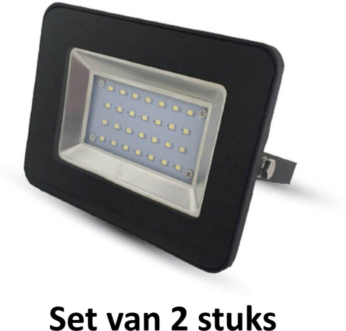 10W LED Bouwlamp| Zwart |4000K (Koel  Wit)|vervangt 50W halogeen | Set van 2