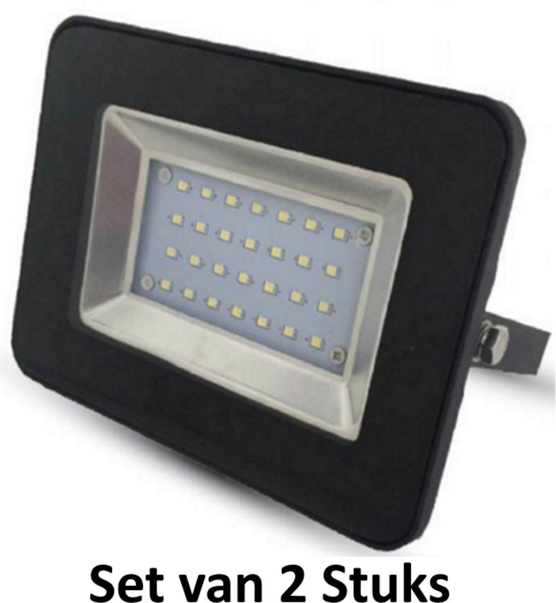30W LED Bouwlamp| Zwart |4500K (Koel  Wit)|vervangt 150W halogeen | Set van 2