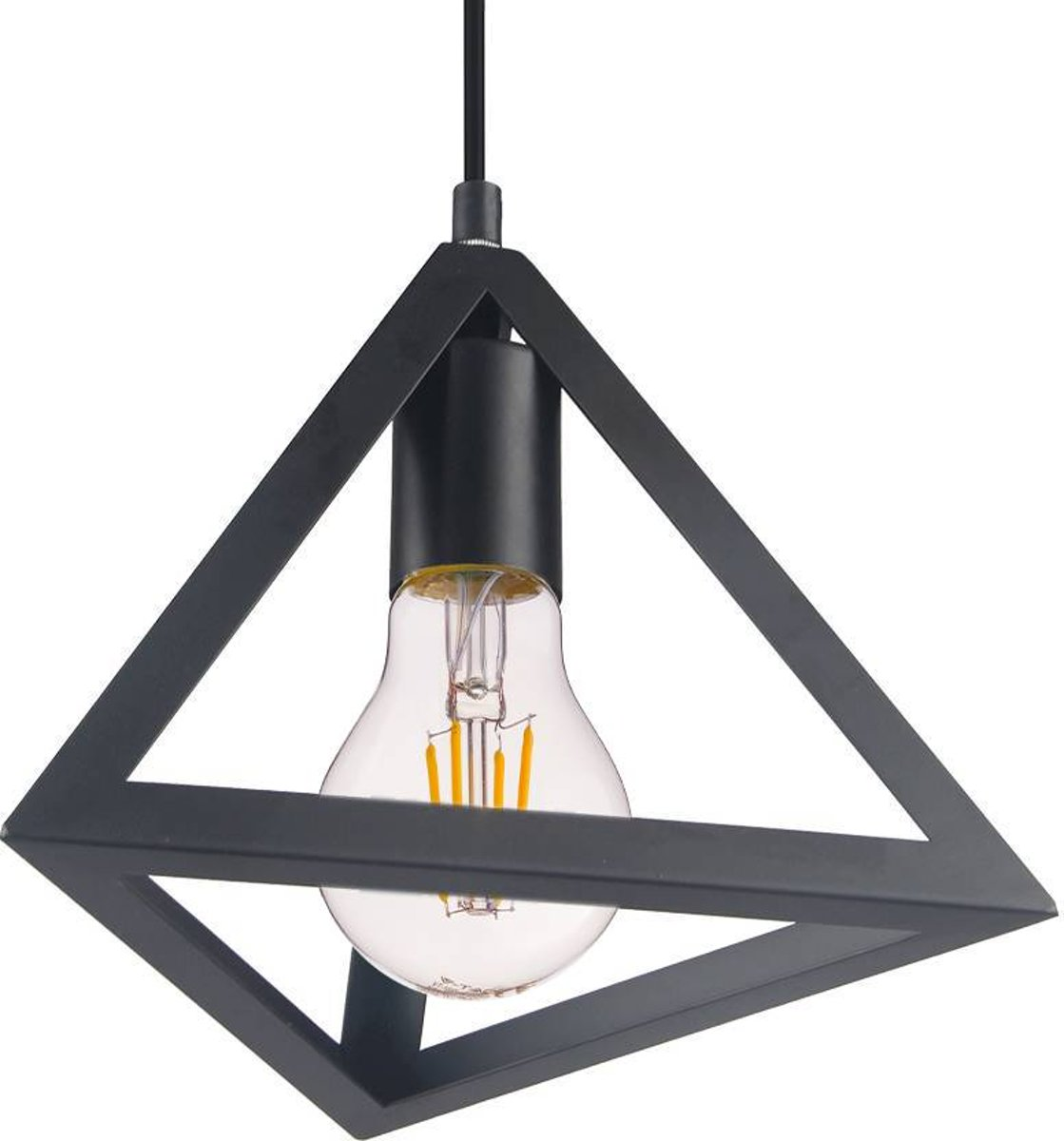 Hanglamp Geometric Piramide E27 matzwart