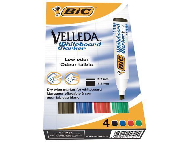 BiC Whiteboard marker Velleda ECOlutions 1751 Large. assorti (pak 4 stuks)