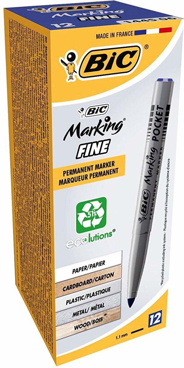 BIC Marking Pocket 1445 permanente marker Blauw Kogelpunt 12 stuk(s)