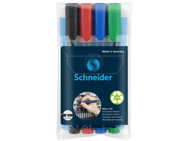 marker Schneider Maxx 133 permanent beitelpunt etui á 4 stuks