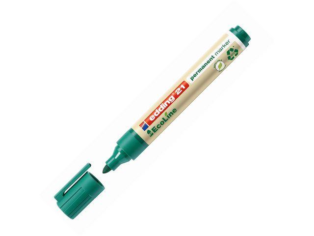 Edding Permanent marker 21 EcoLine groen (doos 10 stuks)
