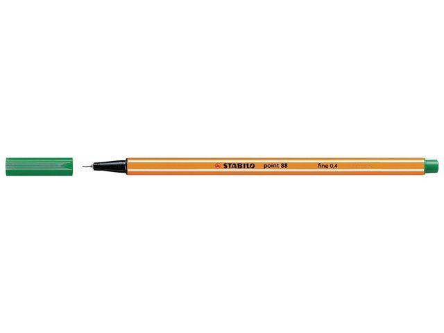STABILO Fineliner point 88 0.4 mm. groen (pak 10 stuks)