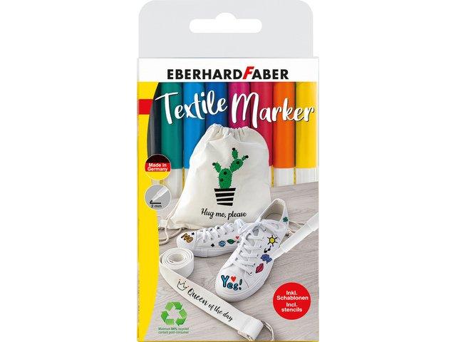 Textielmarker Eberhard Faber 8st. in etui. Incl. 4in1 sjablonen.
